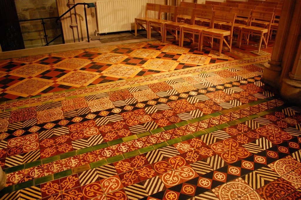 Tiled floor, Christchurch Cathedral, Dubline, Eire. Such rich colours.