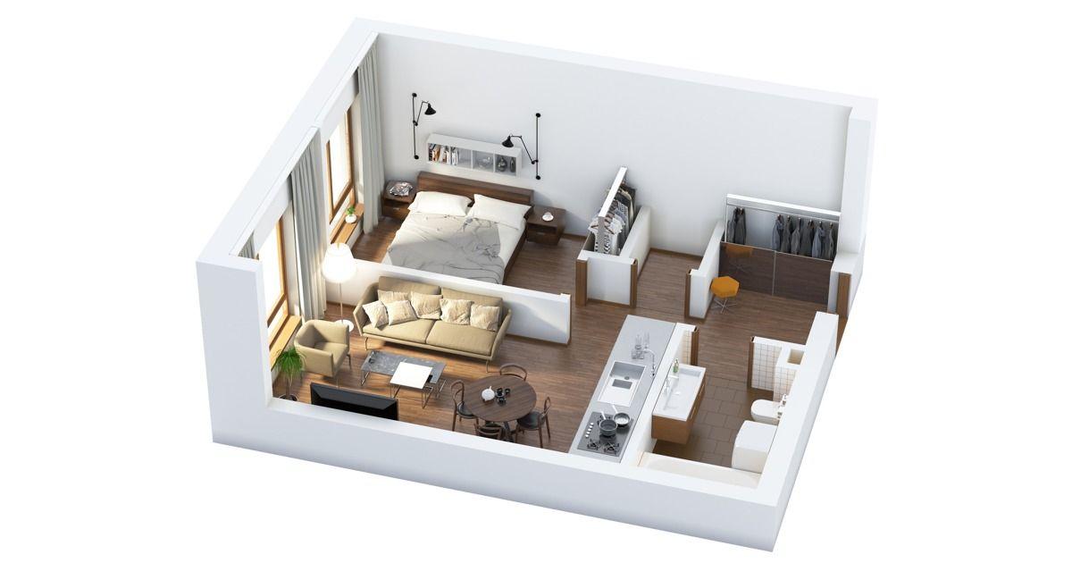 The Best One Bedroom Floor Plans Espacos Pequenos Planta De