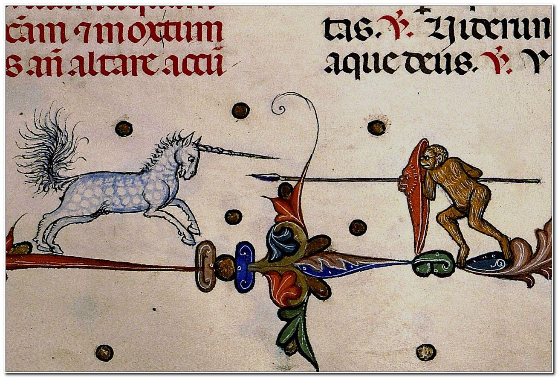 Unicorn vs. Monkey.      Pontifical of Guillaume Durand, Avignon, before 1390.      Paris, Bibliothèque Sainte-Geneviève, ms. 143, fol. 232r
