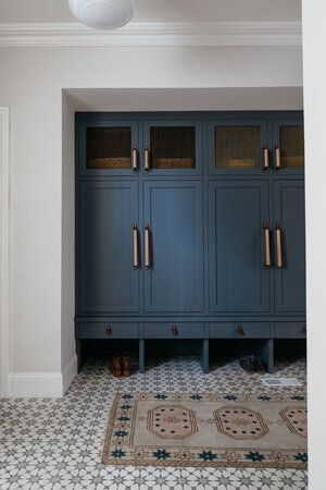 Charming, Blue Mudroom Built-In