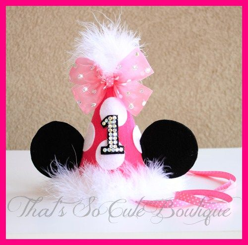 Minnie Mouse Party Hat For Little Girls 1st Birthday