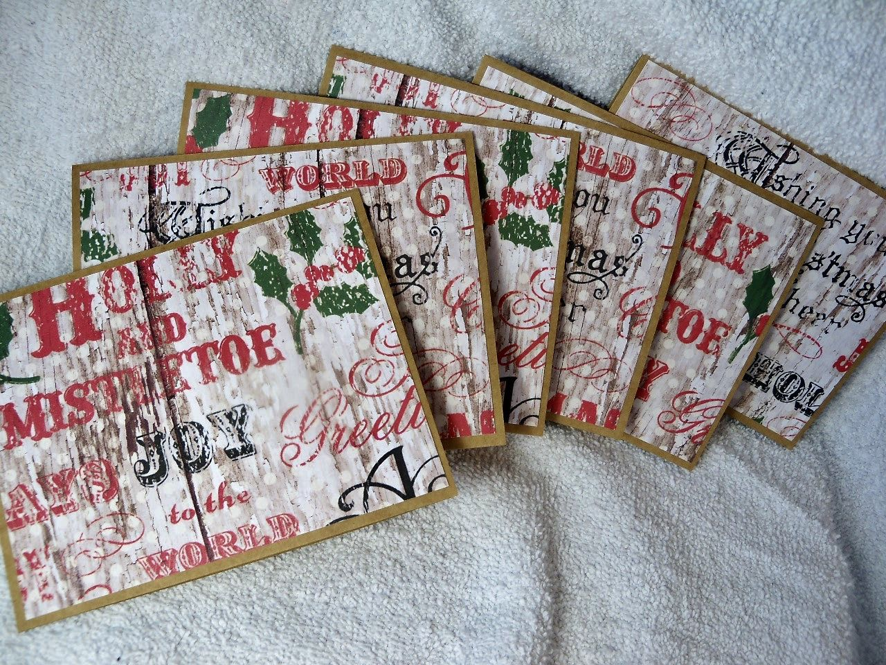 Rustic Christmas cards, set of 6 with envelopes, reads: \