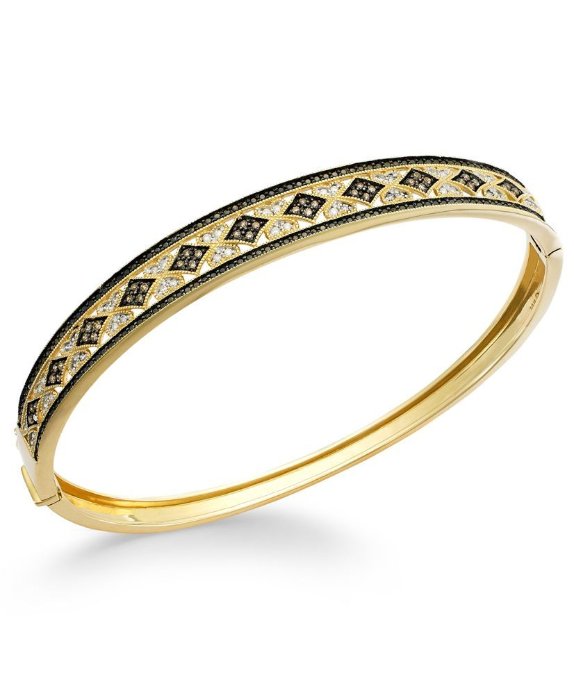 Wrapped in Love White and Champagne Diamond Ornate Bangle Bracelet in 14k Gold (1/2 ct. t.w.)