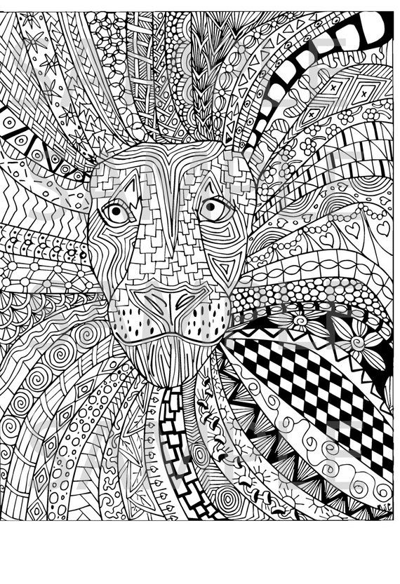 Lion Zentangle Adult Coloring Page Instant Download Ready To Print
