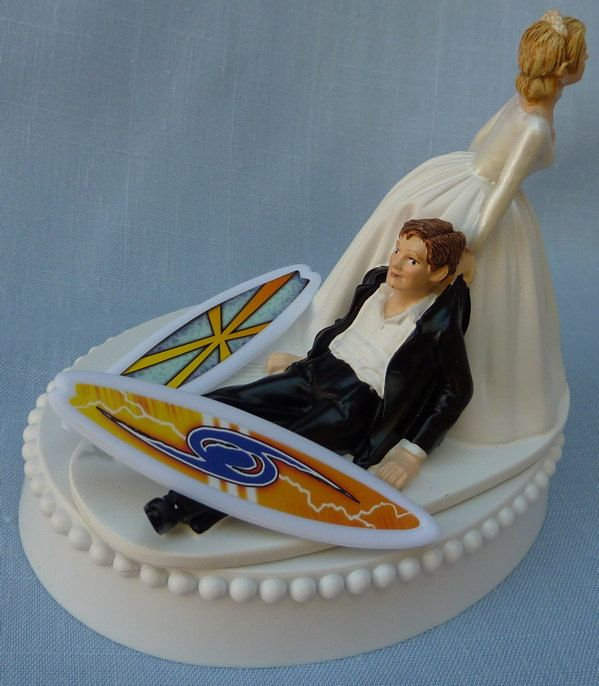 Wedding Cake Topper Surfing Surfboard Surfer Groom Themed W Bridal Garter Bride Drags Pulls