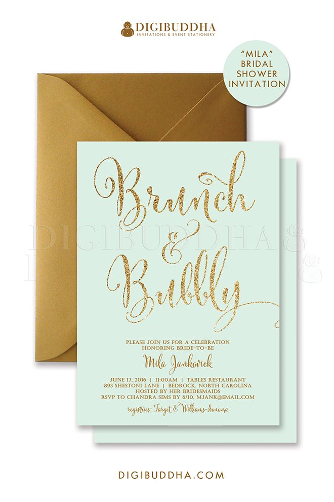 Mint and gold glitter brunch bubbly invitations for for Wedding brunch invitations