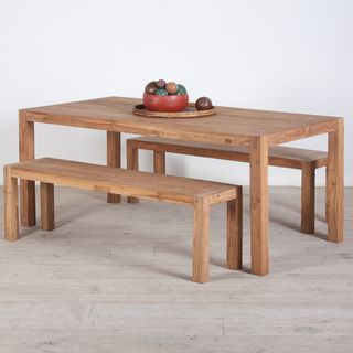 Reclaimed Teak Wood Dining Table And Benches Set India