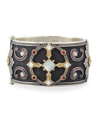 Konstantino Pink Tourmaline & Pink Crystal Quartz Over Sapphire Ring KN1Vx