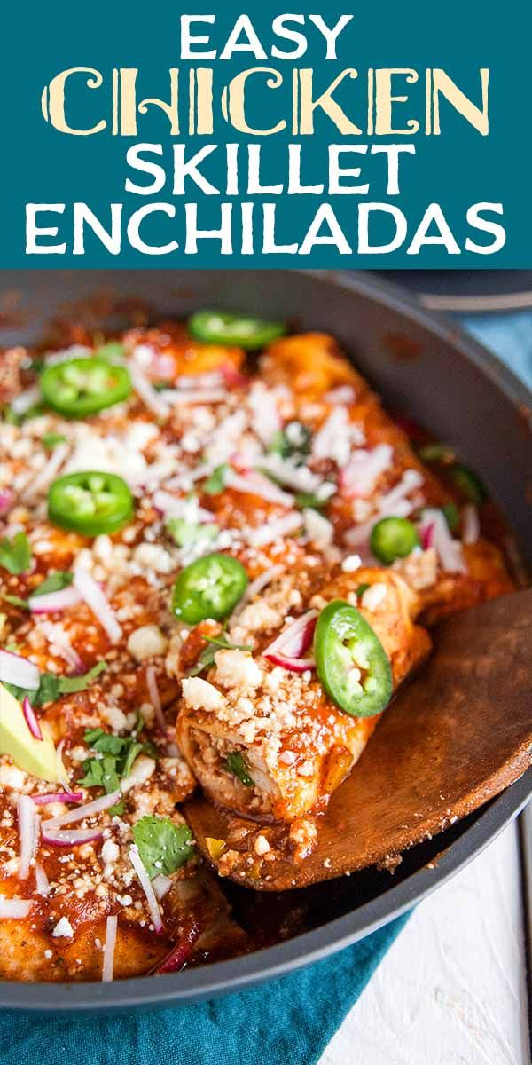 Easy Chicken Skillet Enchiladas These chicken skillet enchiladas are easy to make and ready in 30 minutes They also use only one pan and are great to double and freeze fo...