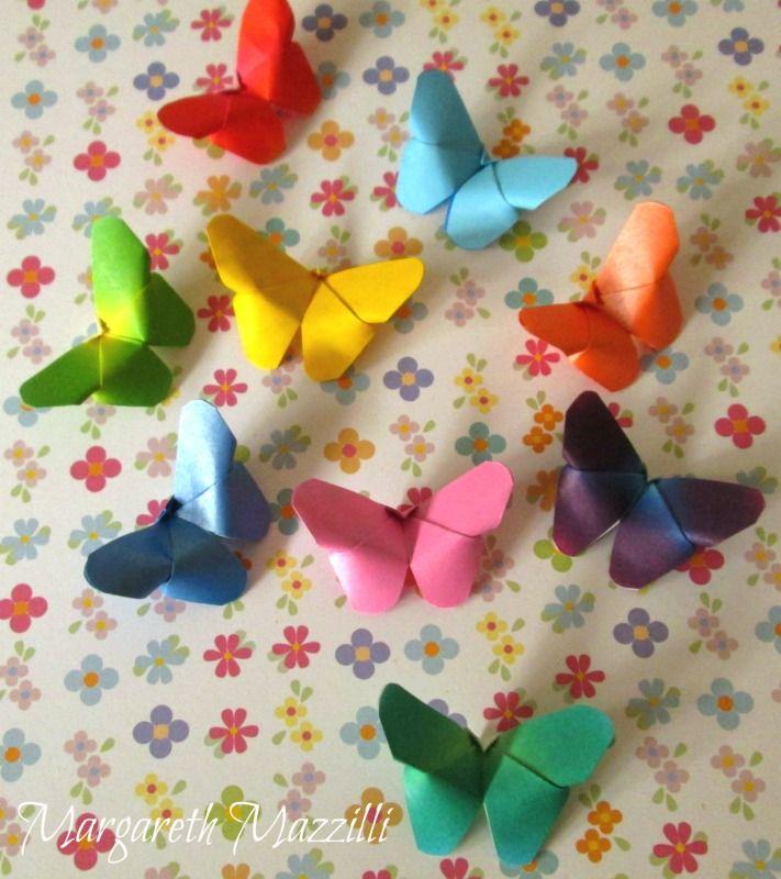 ʚĭɞ Borboletas/Butterflies ʚĭɞ . Autor: Akira Yoshizawa   . Instruções de dobra: Innova Crafts - https://www.youtube.com/watch?v=60noHyyLDBE  (variação) . Dobrado por: Margareth  Fevereiro/2015