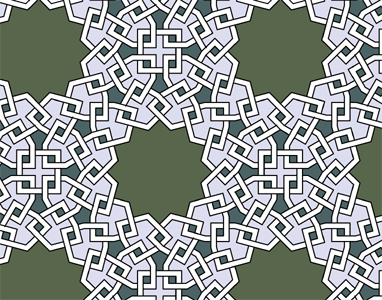 Islamic Star Patterns - I think these are Penrose Kites making four stars around a square, and then the four stars-and-squares are duplicated and rotated around a decagon.