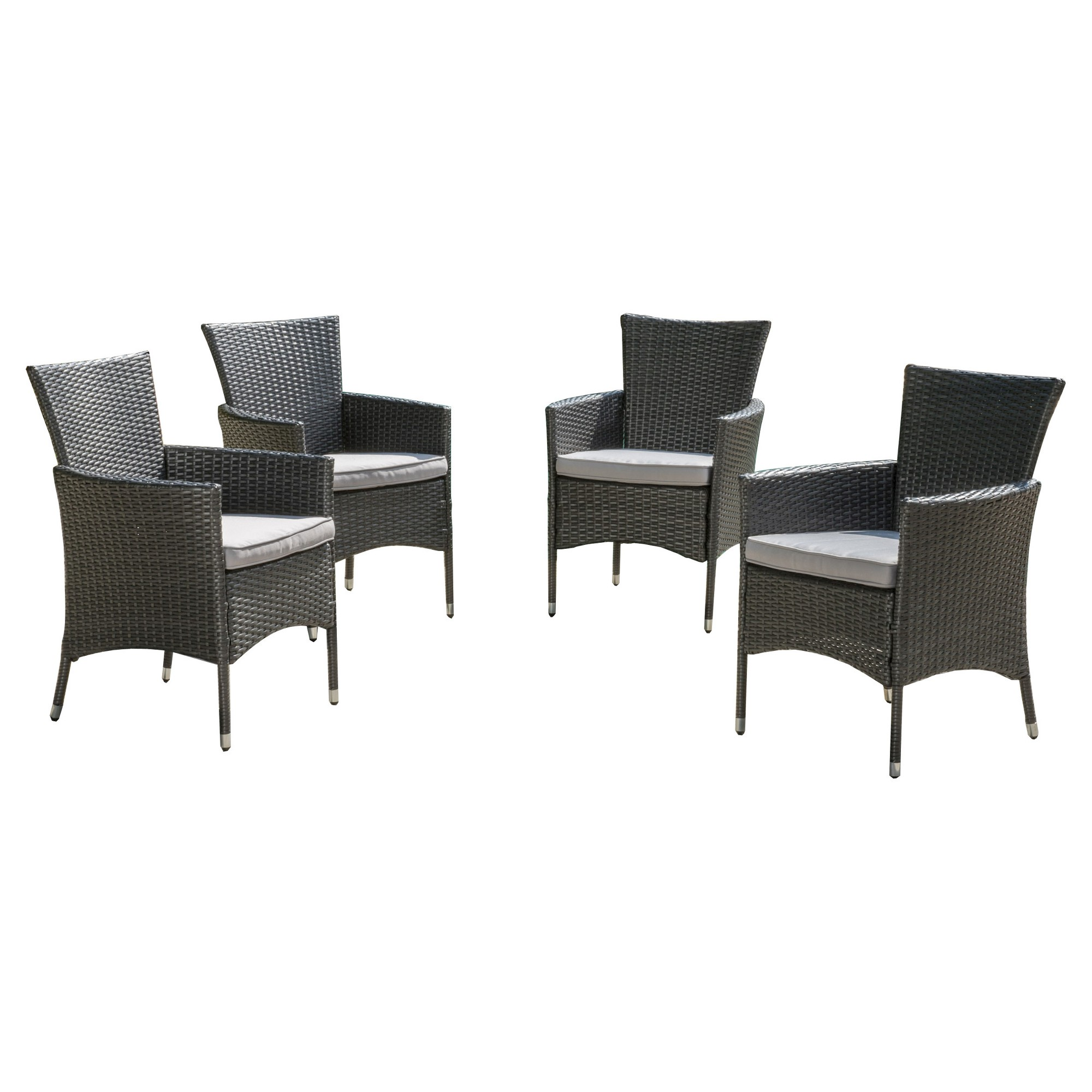 Malta Set of 4 Wicker Patio Dining Chair with Cushions - Gray ...