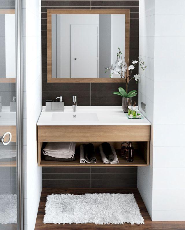 Meuble salle bain bois design ikea lapeyre for Meuble salle de bain petite surface