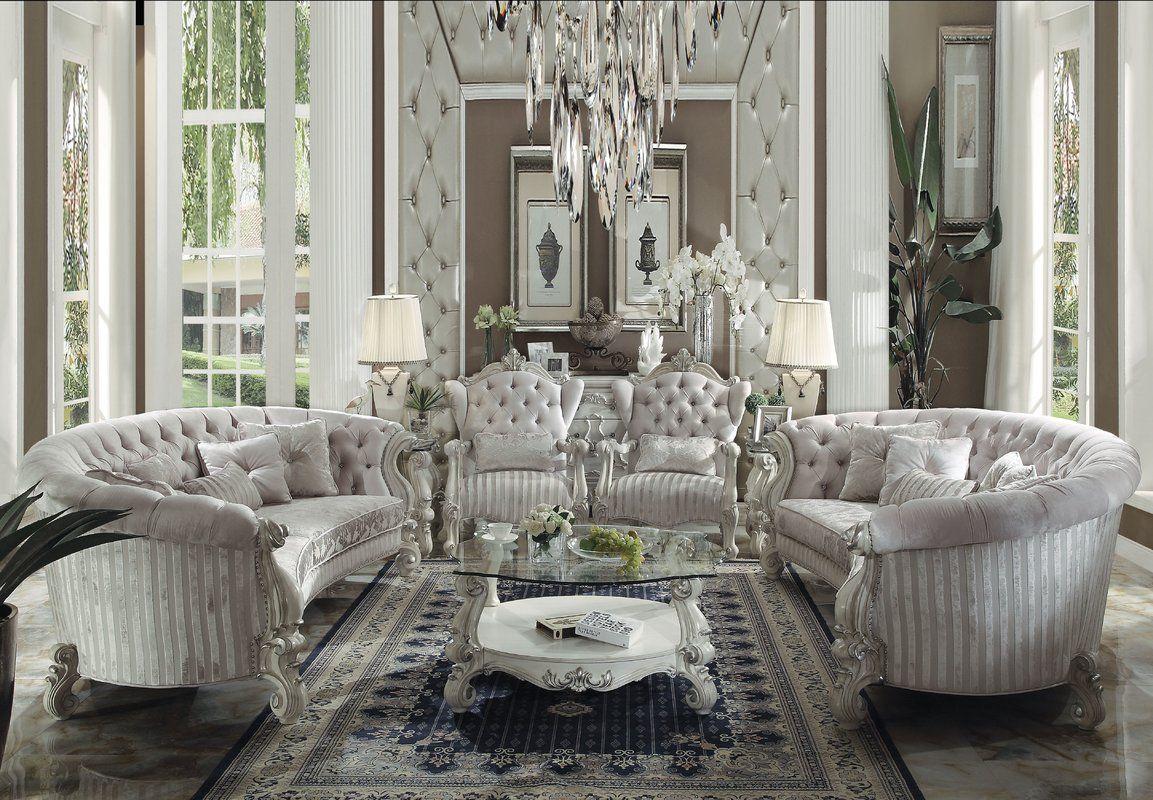 Astoria Grand Jazmin Configurable Living Room Set Wayfair White Living Room Set Luxury Living Room Velvet Living Room