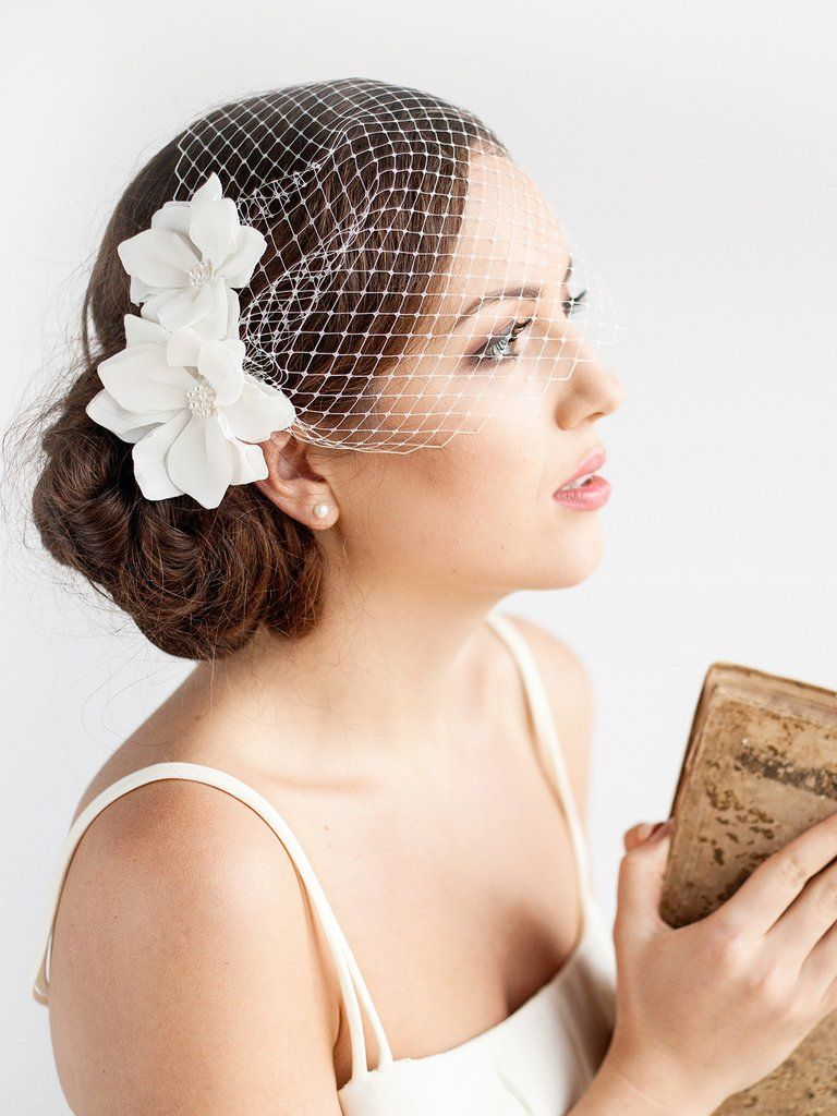 Birdcage Veil with Flowers | MAGNOLIA -   13 wedding Veils birdcage ideas