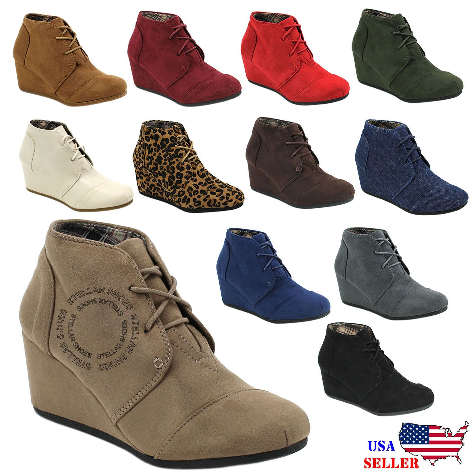 New Womens Round Toe Lace Up Wedge Heels Suede Ankle Boots Booties  WITH  BOX  31727a57a