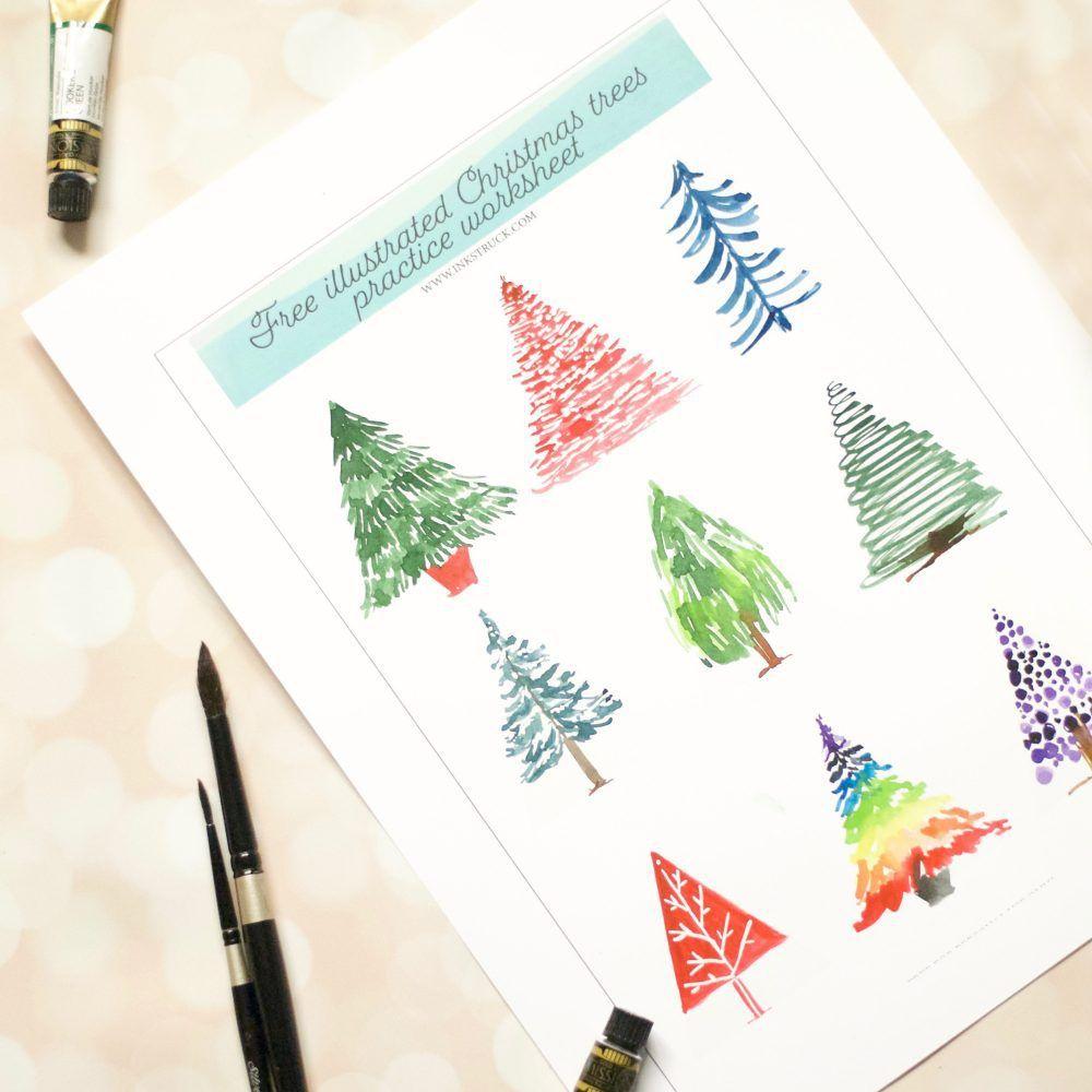 Free Watercolor Christmas Tree Worksheet Watercolor Christmas