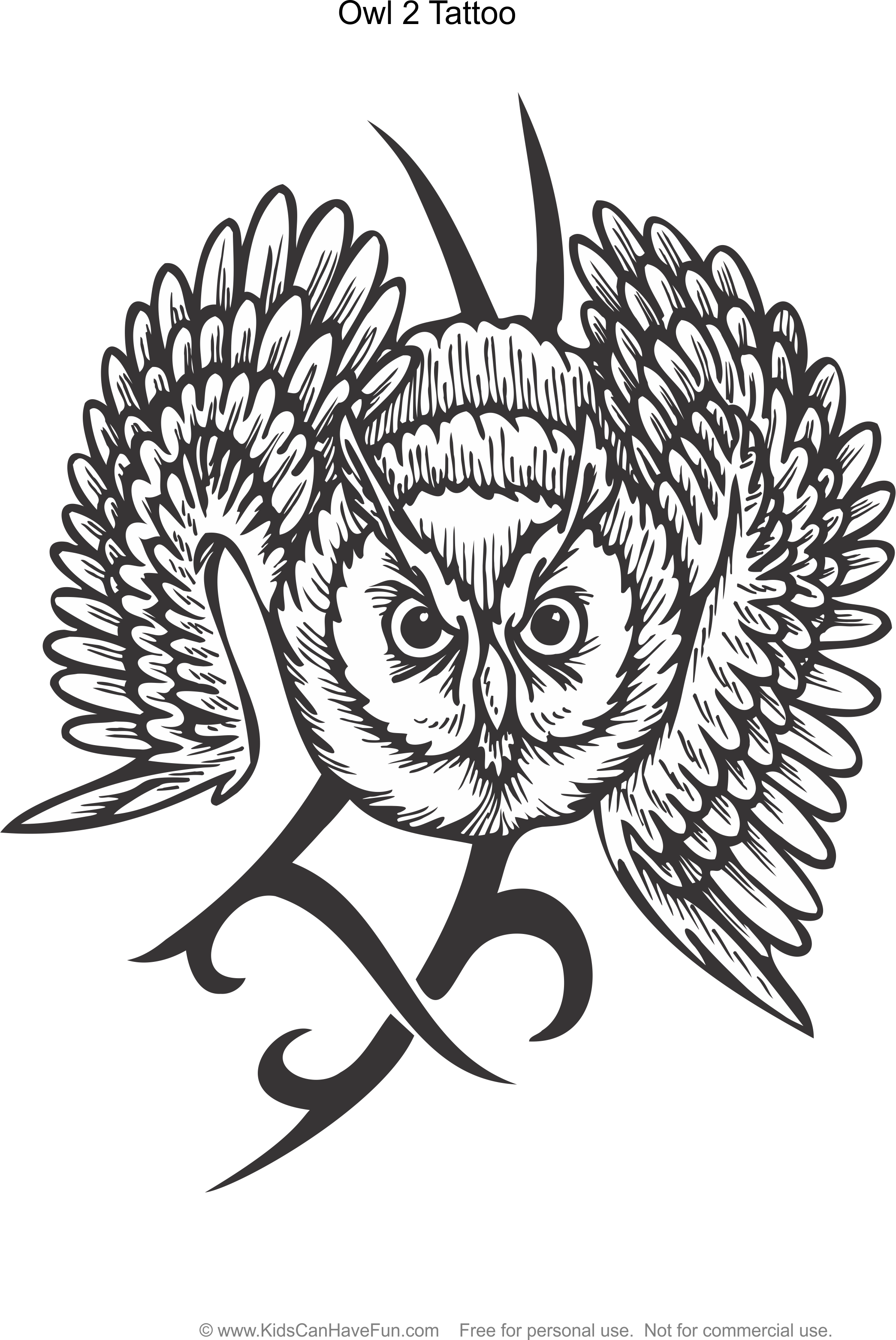 Tattoo designs coloring book - Owl 2 Tattoo Design Coloring Page Http Www Kidscanhavefun Com