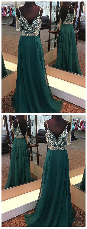 Dark green prom dresses spaghetti straps aline chiffon long prom