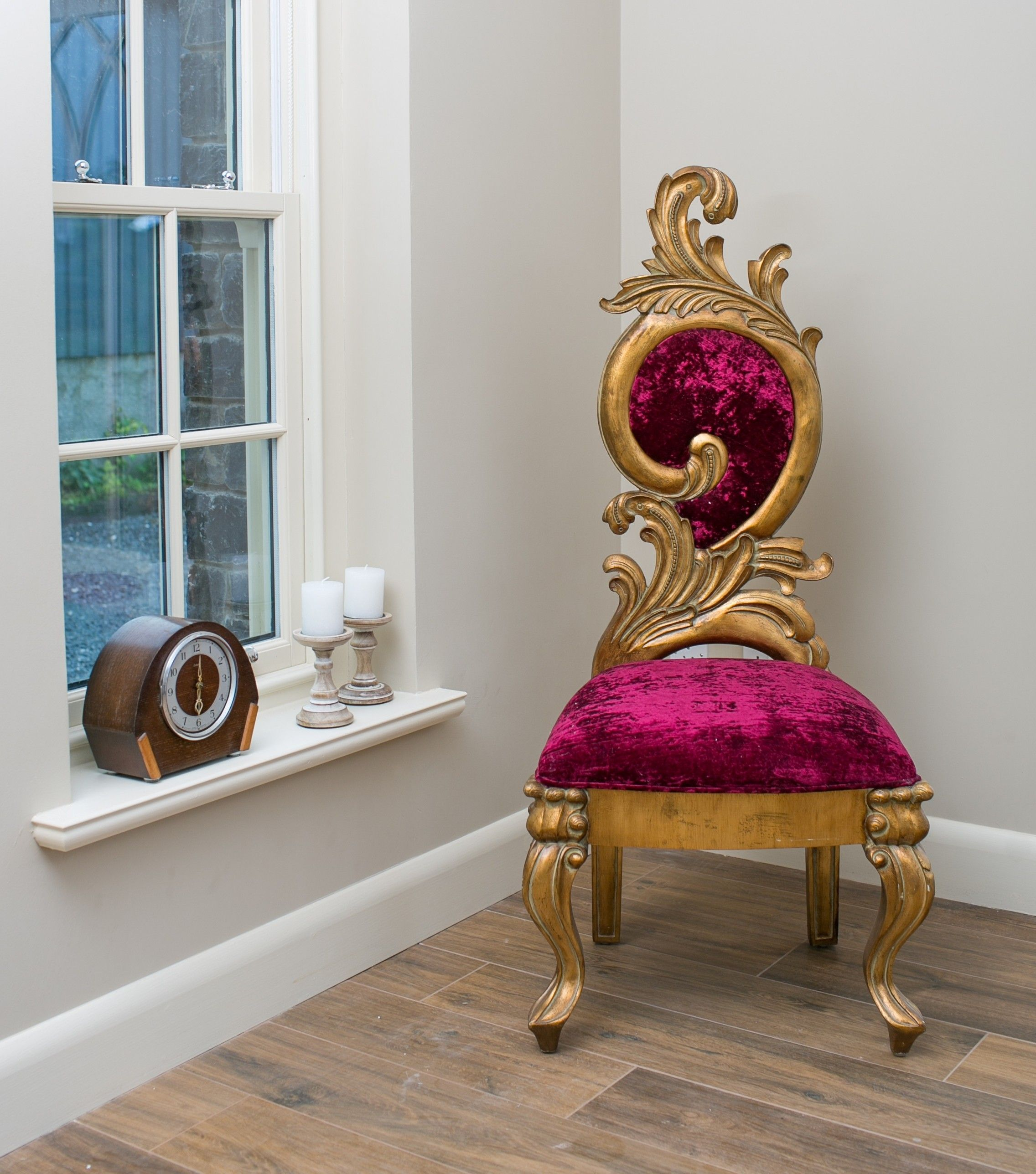 gold velvet chair and a half