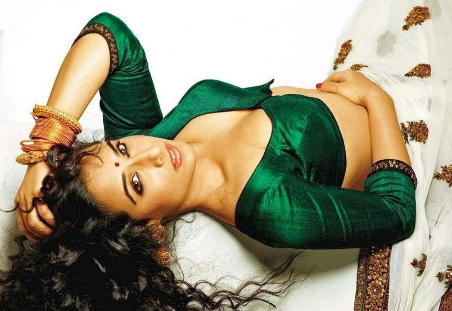 Vidya Balan Lying In Bed Hot Saree Foundpix Vidyabalan  -2559