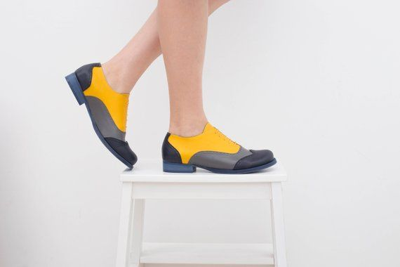 f9c4f94bd4 Women's oxford shoes flat yellow and gray handmade womens brogues shoes ,  ADIKILAV