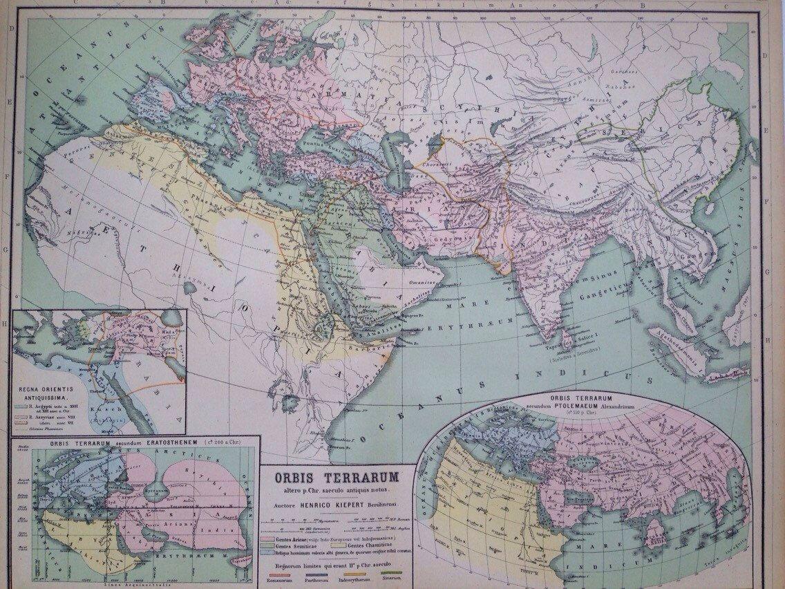 1892 orbis terrararum original antique ancient history large world 1892 orbis terrararum original antique ancient history large world map latin map world map gumiabroncs Gallery