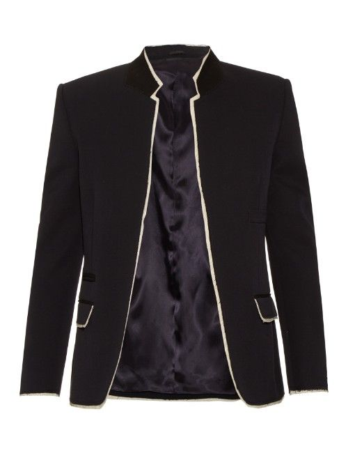 9fe1925c308d This lightweight navy wool blazer arrives straight from Alexander McQueen s  nautical-themed Resort 2016 runway. The cut is typically sharp and slim