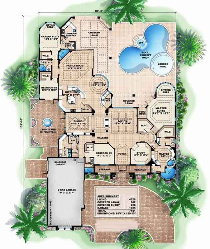 Florida Style House Plans 4928 Square Foot Home 1 Story 4 Bedroom And 1 3 Bath 3 G Mediterranean Floor Plans Florida House Plans Mediterranean House Plans