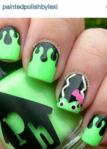 Bride Of Frankenstein Nail Art From Painted Polish By Lexi I Love This