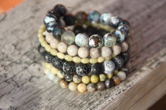 Wire wrapped beaded bracelet Green Grey  and by EverydaySisters, $45.00