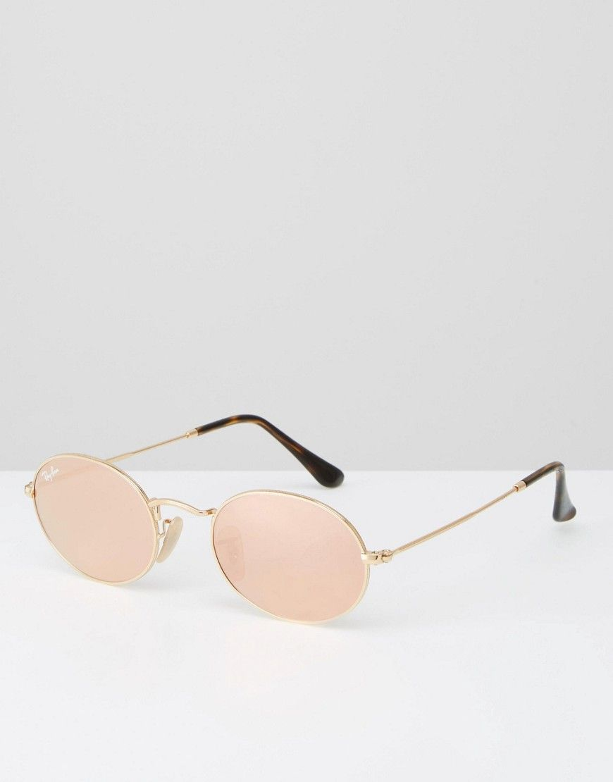 acbea0bd34c1 Image 1 of Ray-Ban Oval Flat Lens Sunglasses with Pink Flash Lens