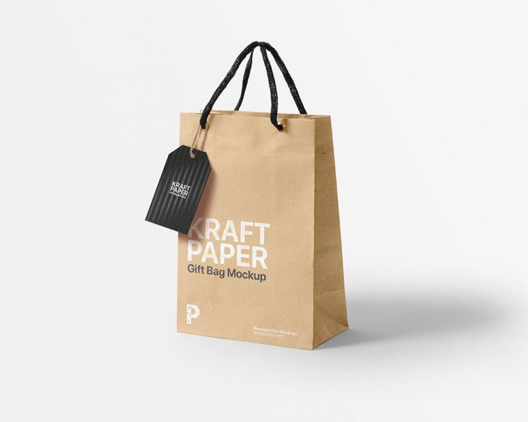 Download Kraft Paper Gift Bag Mockup With Tag Mockup Free Package Mockups
