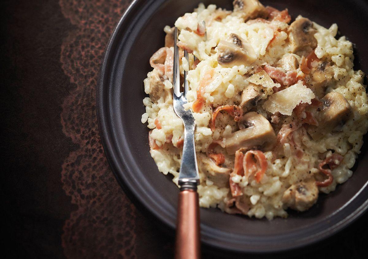 Risotto aux champignons et au jambon cru   Risotto ...