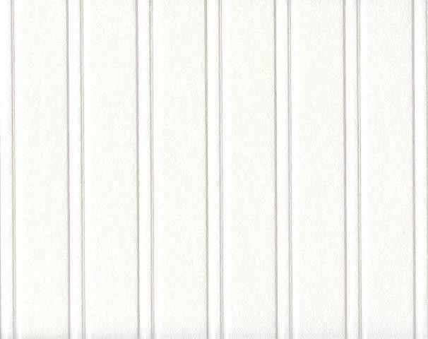 White Paintable Beadboard Textured Prepasted Wallpaper 497