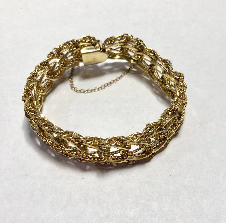 08546d3ef2abc Elco 1/20 12k Gold Filled CHARM Bracelet GF Fancy Double Entwined ...