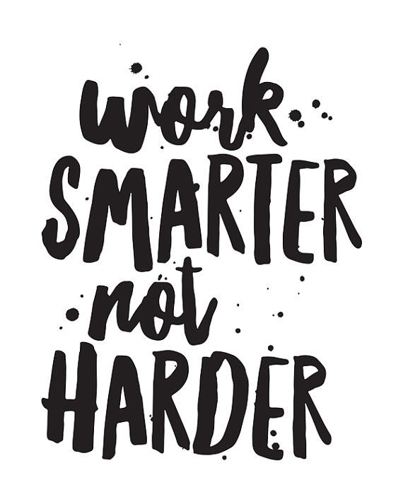 Printable Art Motivational Quote Work Smarter Not Harder