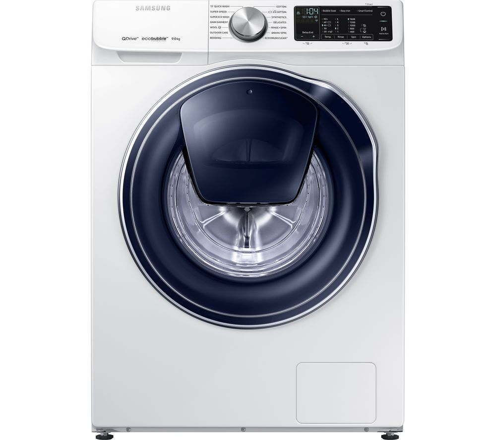 Samsung Quickdrive Ww90m645opw Smart 9 Kg 1400 Spin Washing Machine White Washing Machine Samsung Washing Machine White Washing Machines