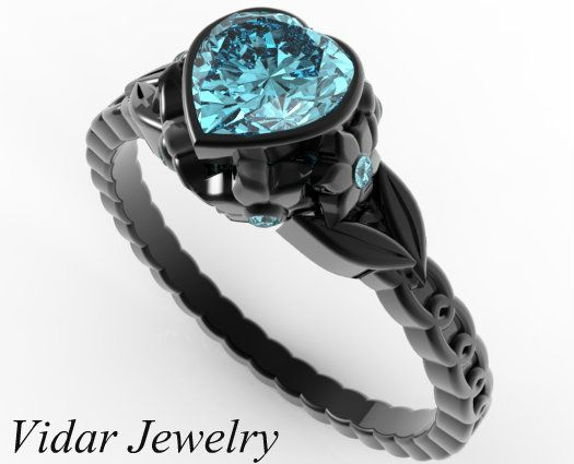 Black Gold Aquamarine Heart And Flowers Engagement Ring