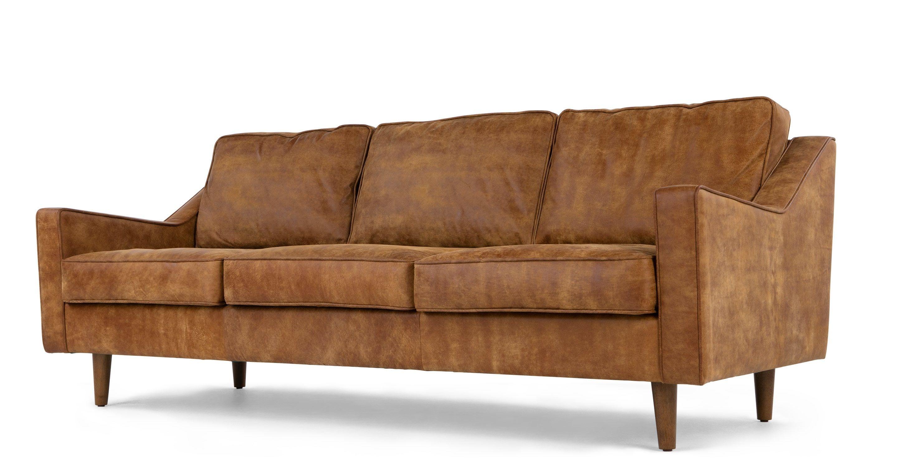 Dallas 3 Seater Sofa, Outback Tan Premium Leather | Living ...