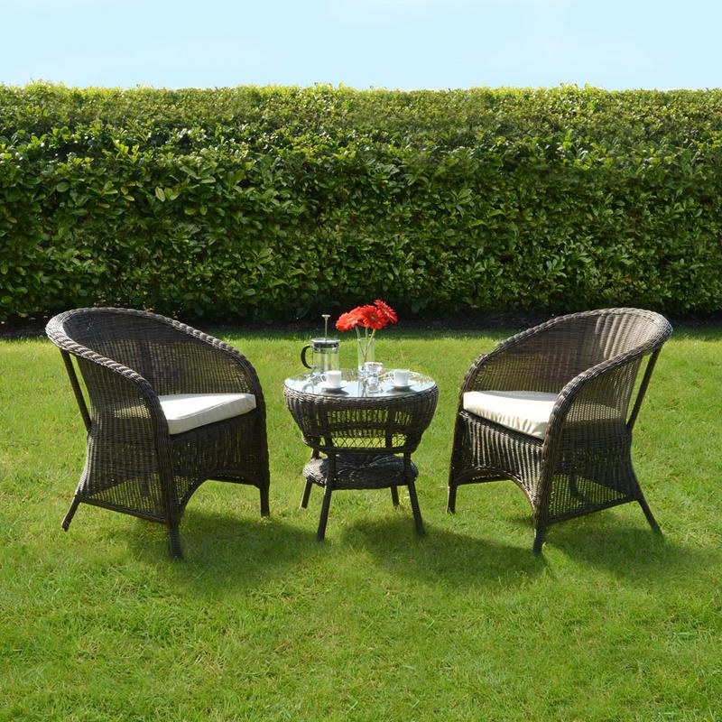 Wicker Rattan Bistro Tables and Chair Set