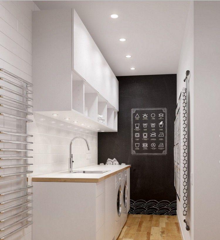r ckwand mit wei en fliesen verlegt led spots in schr nken eingebaut waschk che pinterest. Black Bedroom Furniture Sets. Home Design Ideas