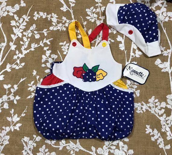 8bcb76fae 6-9m Nannette Bubble Romper Flower Sunsuit and Bonnet Hat Vintage Baby  Girls 6 9 months NWT NOS VTG