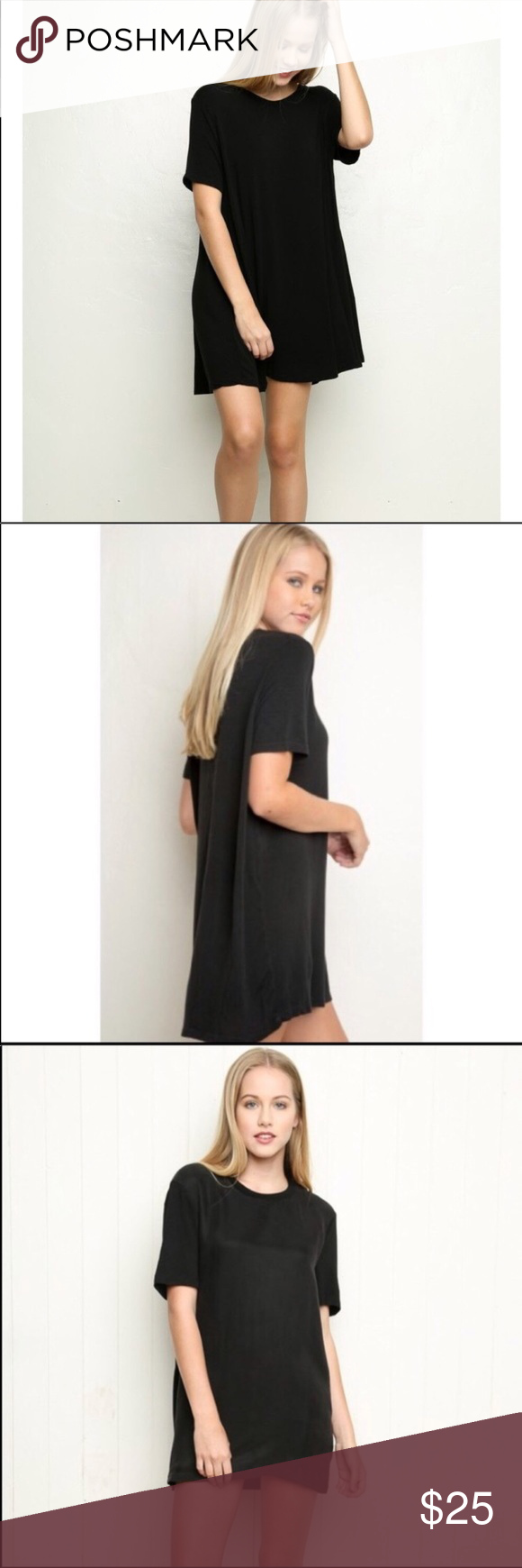 Brandy melville suede black tshirt dress tunic nwt pinterest