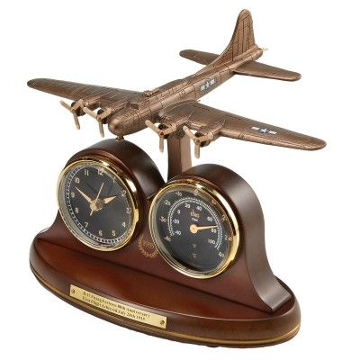 B 17 Flying Fortress Tribute Desk Clock And Thermometer
