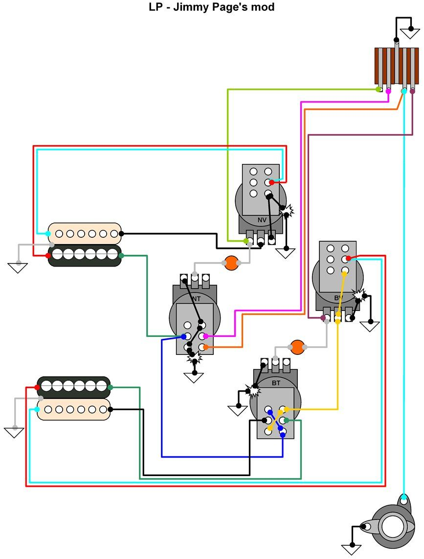 hermetico guitar wiring diagram jimmy page s mod guitar wiring rh pinterest com Guitar Coil Tap Wiring Diagrams Guitar Wiring Diagram 2 Single 1 Volum 1 Tone