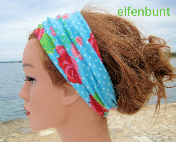 Haarband, Stirnband, Rosen , blau, pink, grün von  Maria Elfenbunt auf DaWanda.com