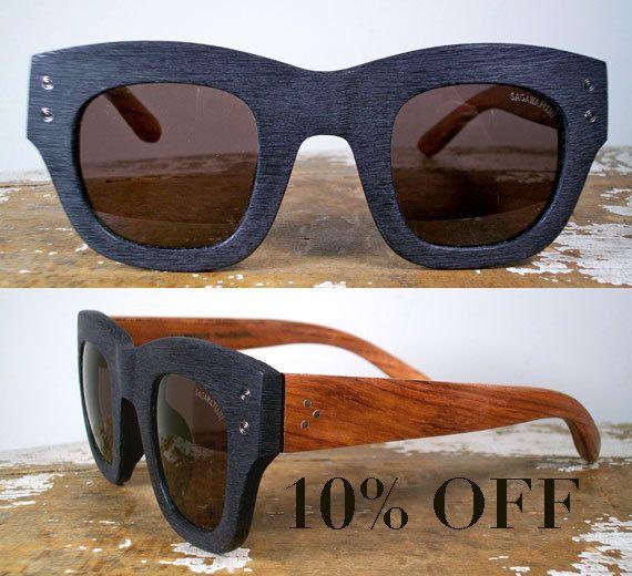 handmade oversized wood and black textured acetate sunglasses / rosewood and black polarized shades. $235.00, via Etsy.