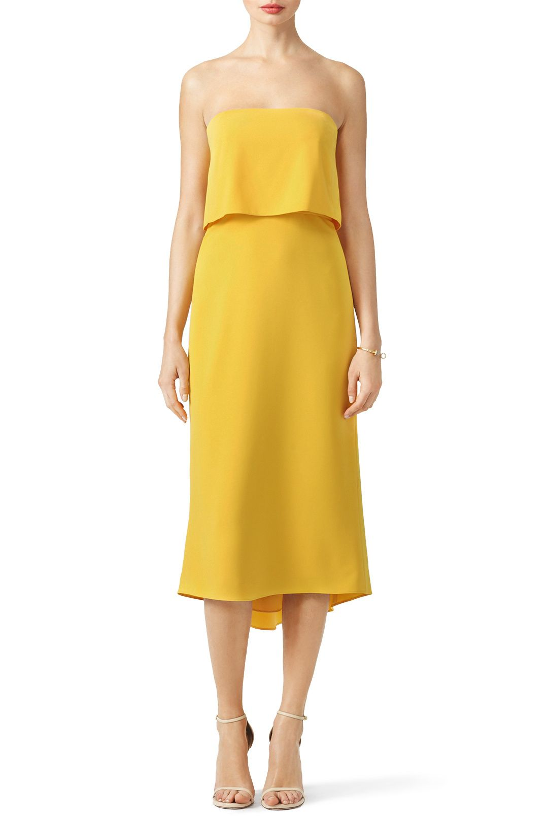 Yellow midi dress with ruffled layer. Perfect