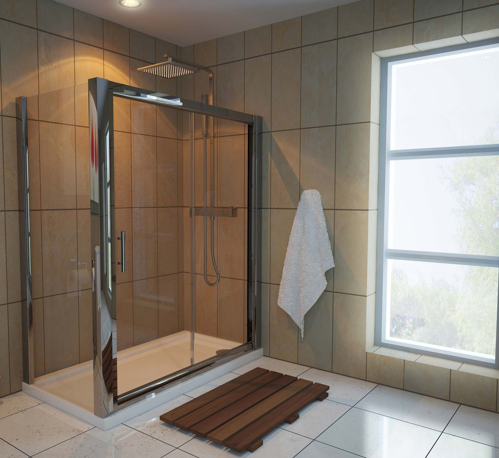 x 700 glass sliding door shower enclosure cubicle with tray and waste ebay